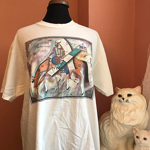 90s T-Shirt, Vintage Tshirt, Jimmie Lee Brown Artist, Warrior, His Horse Wounded