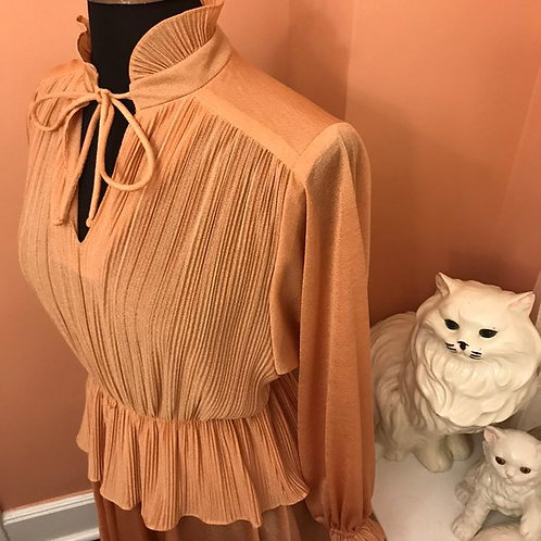 Vintage Dress, 70s Dress, Pink Ruffle Dress, Blush Crimped Ruffle, Disco