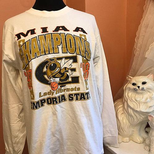 Vintage Tshirt, 90s T-shirt, Lady Hornets, MIAA Basketball, Emporia State, NAACP