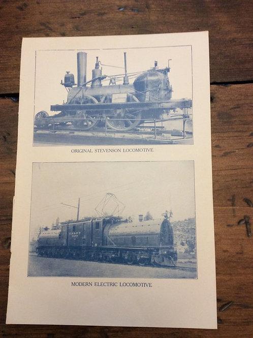 Antique Print, Train Print, Vintage Print - Trains, Locomotive, Steam Engine