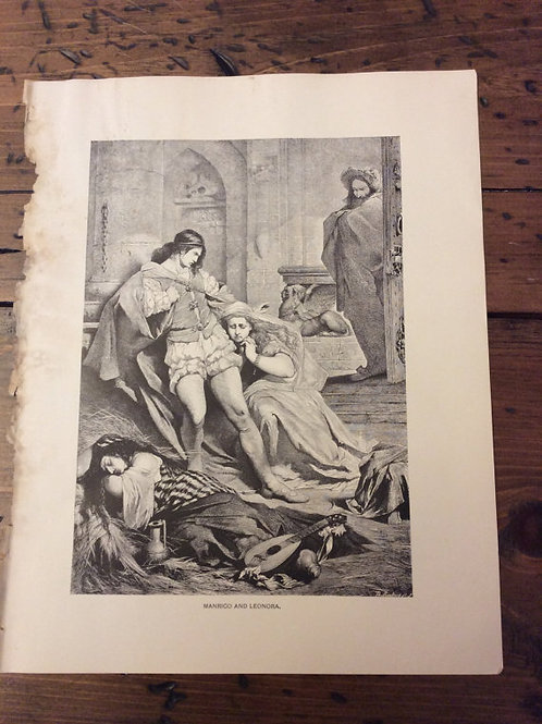 Antique Print, Opera Scenes, Vintage Print - Wood Engraving, Il Trovatore Opera