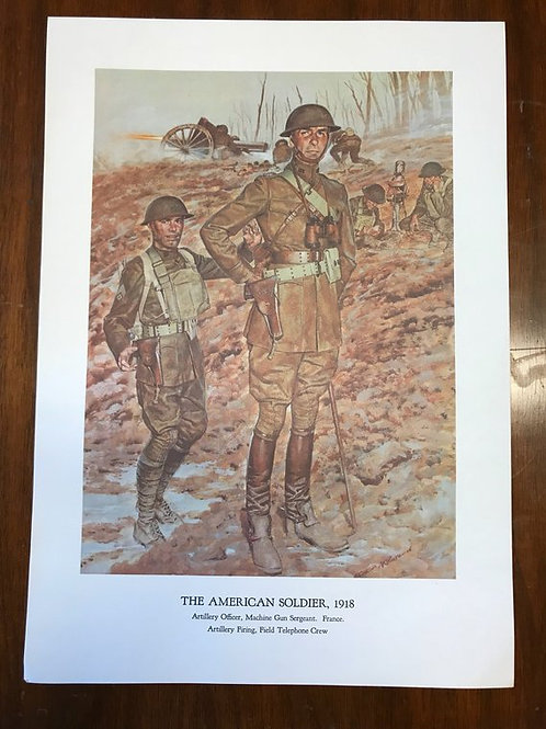 Vintage Print, Military Art, 1966, The American Soldier,1918