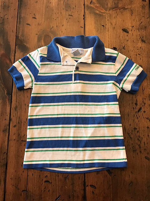 Vintage Boy Polo, 80s Oshkosh B'Gosh, Osh Kosh, Blue, White Striped Ringer, Boys