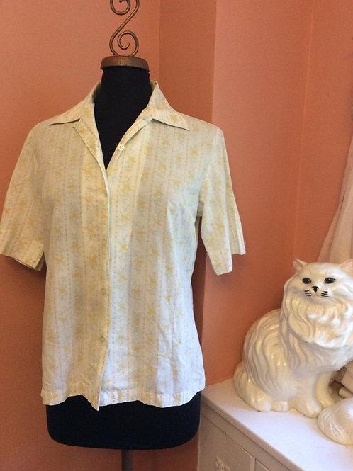 Vintage Floral Shirt, Floral Cotton Blouse, Vintage 70s, Floral Cotton, Boho Top