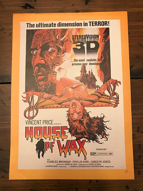 Vintage 50s Movie Ads, Magazine Pages, Movie Posters, House of Wax 3D