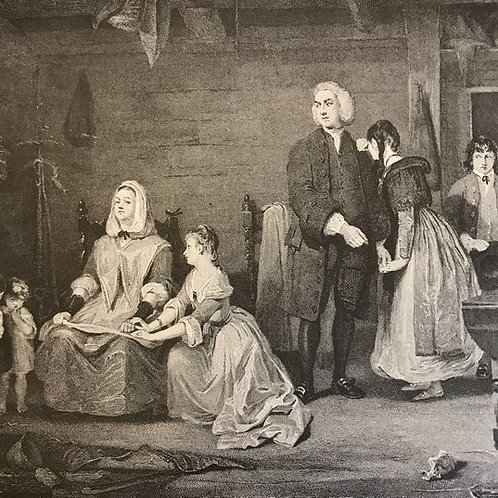 Antique Print, Litho, The Vicar of Wakefield, Return of Olivia, Goldsmith