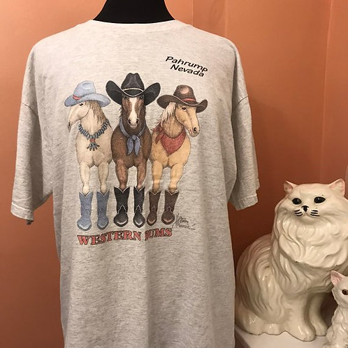 90s T-Shirt, Vintage Tshirt, Western Bums, Pahrump, Nevada, Horses with Boots