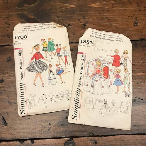 """Vintage Sewing Patterns, Simplicity, 1960s, Teen Dolls, 12"""" Doll Clothes"""