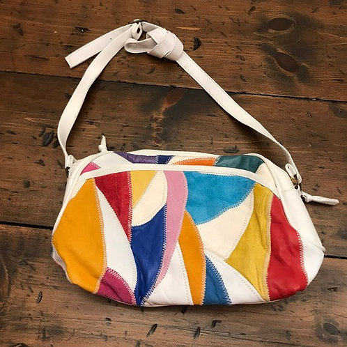 Vintage Handbag, 90s Purse, Genuine Leather, Patchwork, NOS, Multi- Color Purse