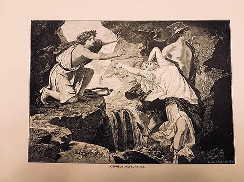 Antique Print, Vintage, Milton's Il Penseroso, Orpheus and Eurydice, Mythology