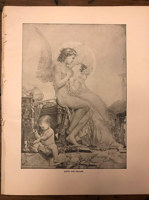 Antique Print, Cupid and Psyche, Lithograph, Mythology and Romance