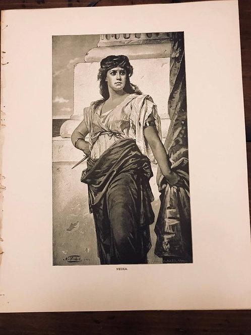 Antique Print, Vintage, Medea, Greek Mythology, Jason, Golden Fleece