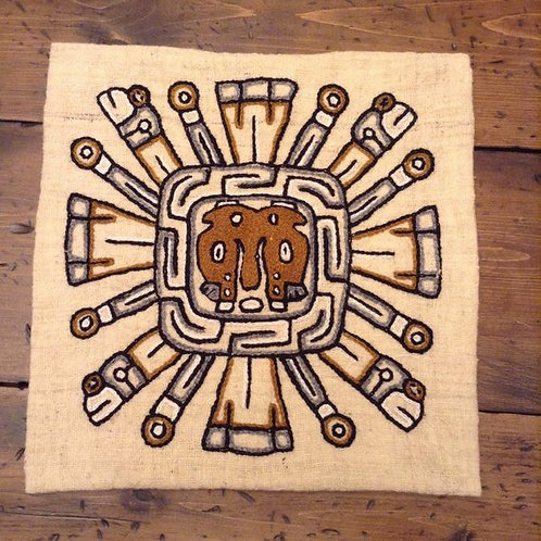 Mexican Theme, Rare 60s/70s Wool Pillow Cover Mayan God Kukulkon