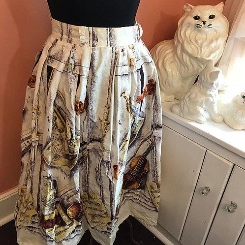 Vintage 50s Skirt, 50s Circle Skirt, Violin, Classic Music