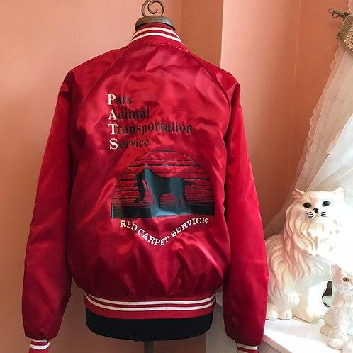 Vintage Jacket, 80s Trucker, Red Fleece Lined Baseball Style Jacket, Fall Jacket