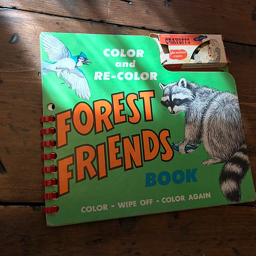 1950s Coloring Book, Coloring Board Book, Vintage Forest Animals Book