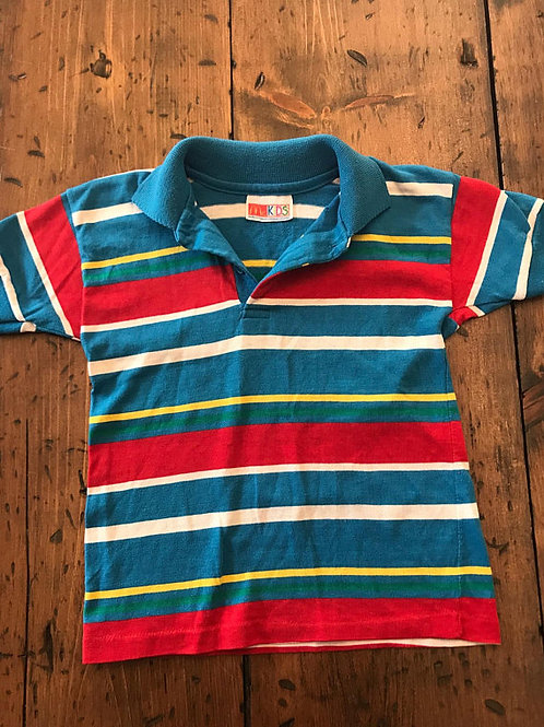 Vintage Boy Polo, 80s McKids, McDonalds, Turquoise Red Striped Ringer, Boys Shir