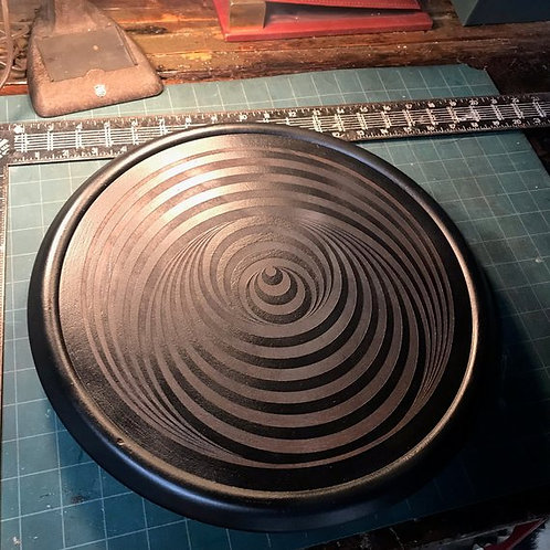 Laser Engraved Lazy Susan, Vintage Lazy Susan, Laser Engraved Optical Illusion