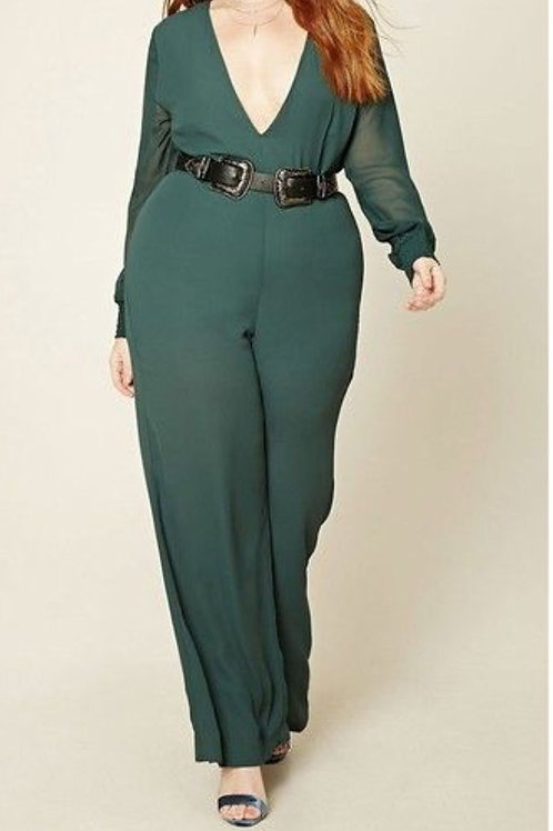Sexy Jumpsuit, New With Tags, Emerald Green Pant Suit, Plus Size Chiffon 1X