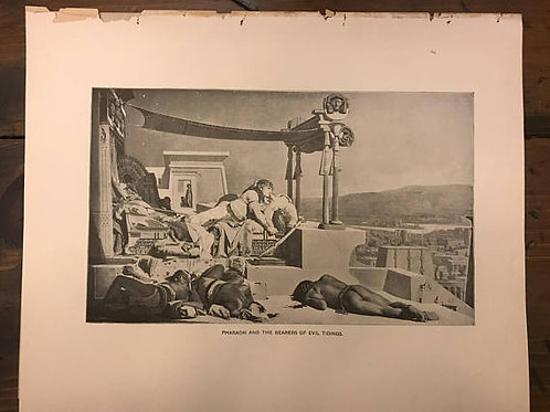 Antique Print, Litho, Pharaoh and the Bearers of Evil Tidings