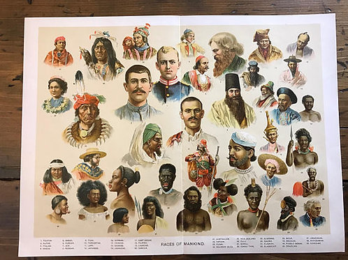 Antique Lithograph, Races of Mankind