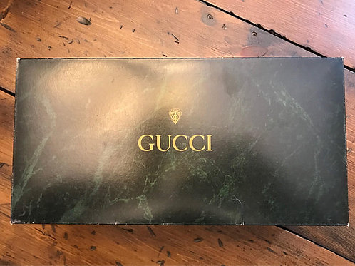 Vintage Gucci Gift Boxes, Green Marble Slipper Size Box