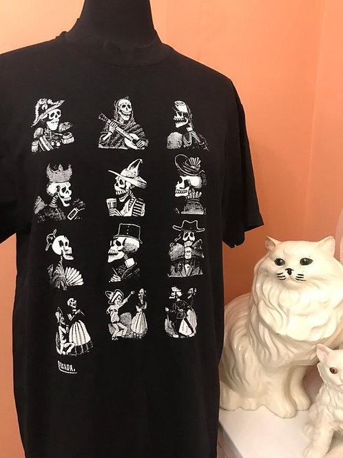 Vintage Tshirt, 90s T-Shirt, Jose Guadalupe Posada Art Tshirt, Mexican Folk Art