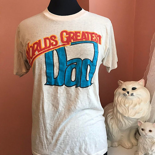 Vintage T-Shirt, 80s Tshirt, Worlds Greatest Dad, Rare, Fathers Day, Birthday