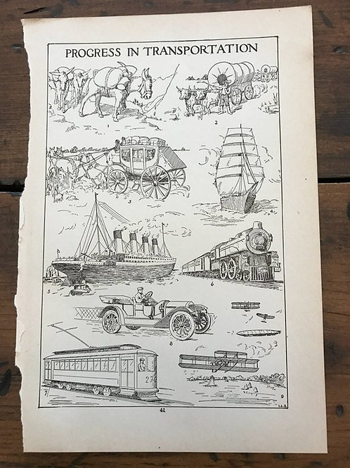 Antique Print, Pirate Ship Print, Train Print, Progress in Transportation