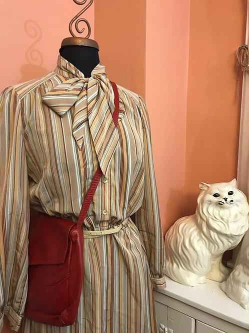 Vintage 80s Dress, Sasson Dress, Bow Collar, Striped Polyester, Secretary