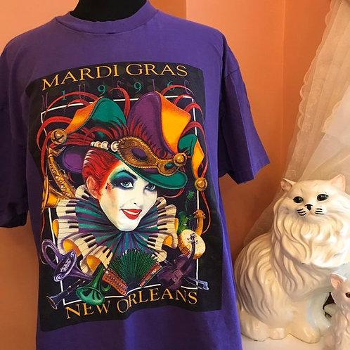 90s Tshirt, Vintage Tshirt, Mardi Gras, New Orleans, 1996 Court Jester, Tourist