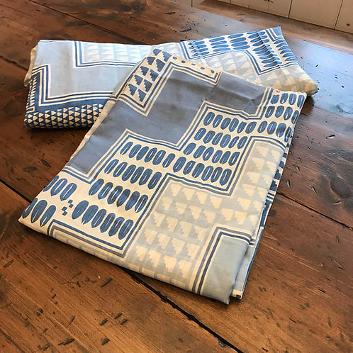 Vintage Sheets, Twin, Boys Sheet Set, Blue and White, Geometric Squares, 70s