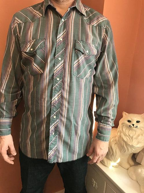 80s Western Shirt, Cowboy, Snap Button Down Wrangler
