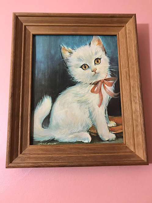 Vintage 1960s Lithograph, White Perseian Kitten, Pink Bow, Baby Girl Nursery