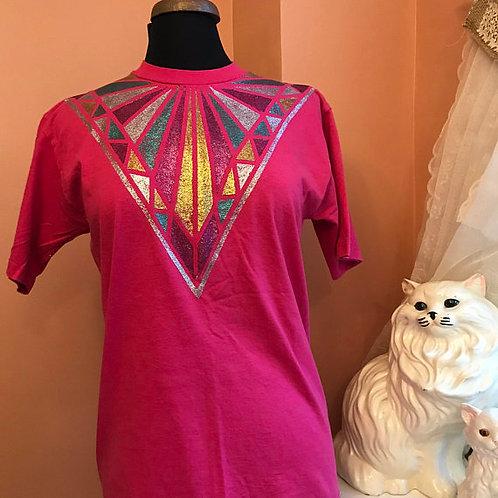 90s T-Shirt, Vintage Tshirt, Glitter Shirt, Glitter Dazzle Shirt, Art Deco