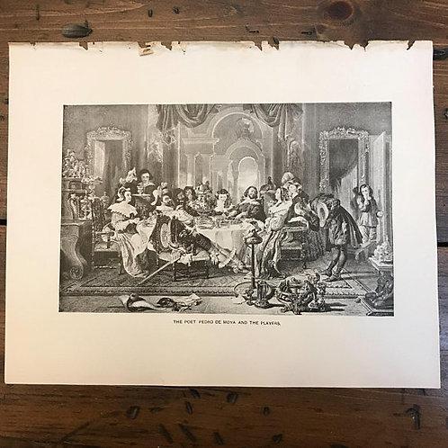 Antique Print, Lithograph, Wood Engraving, Poet Pedro de Moya, Actors, Le Sage's