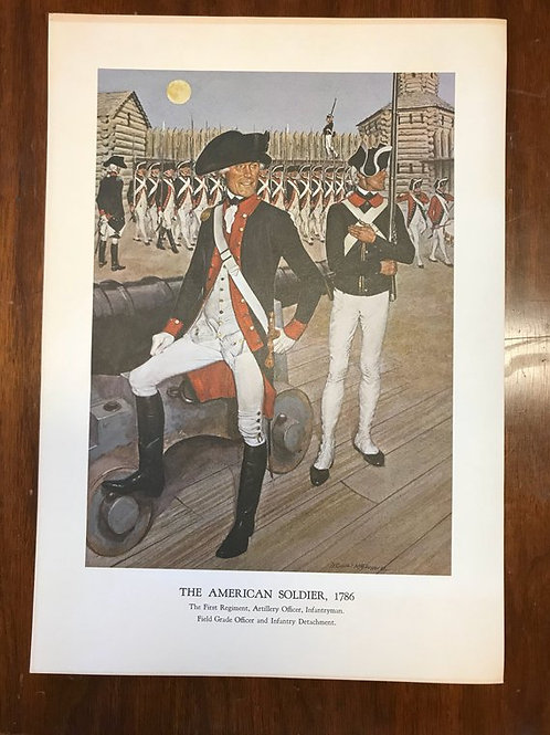 Vintage Print, Military Art, 1966, The American Soldier,1786