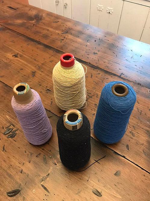 Vintage Elastic Thread Spool, Black, White, Blue, Purple, Destash