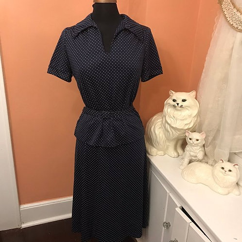 Vintage Dress, 70s Dress, Skirt and Top Set, Navy Blue White Polka Dot