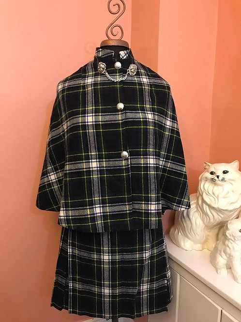 Vintage Plaid Skirt Cape Set, Poncho Plaid Skirt, Kilt, Tartan, Catholic School