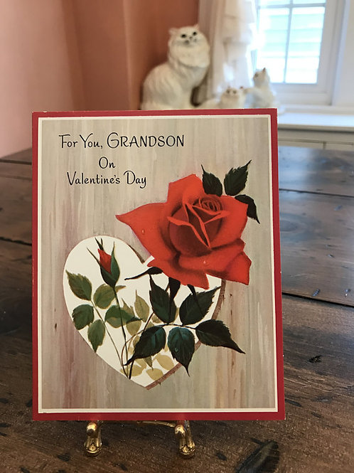 Vintage Card, Valentines Card for GrandSon, Greeting Cards