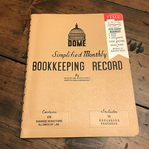 Monthly Bookkeeping Record, Vintage Journal, Ledger, Record Book
