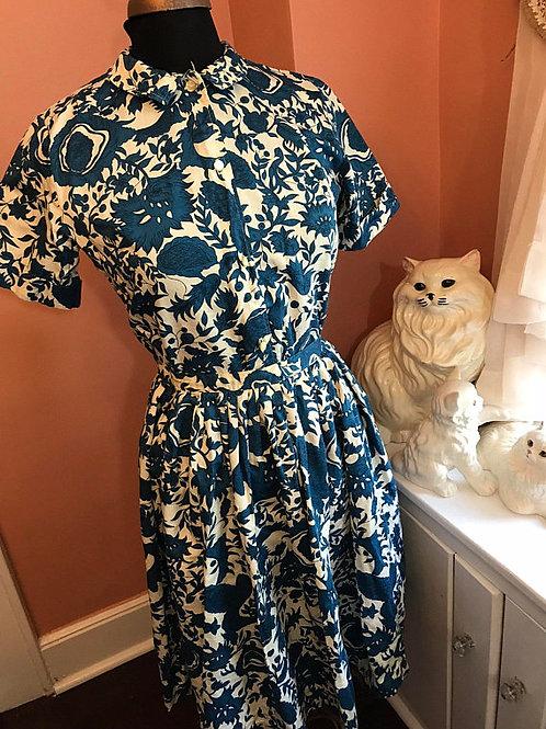 Vintage 50s Dress, 2 Piece, 50s Circle Skirt, Tropical Shirt and Skirt Set
