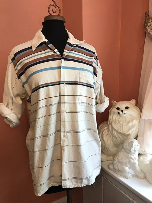 Vintage Men's Shirt, Stripe Button Down, 70s Menswear, Western, Country, Rodeo