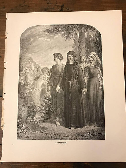 Antique Print, Typogravure, Milton's Il Penseroso, Nuns