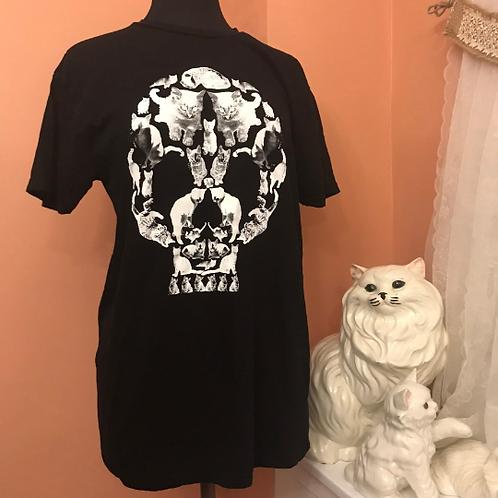 Cats Skull Tshirt, Punk Goth Cats, Loot Crate Tee, L (C986)