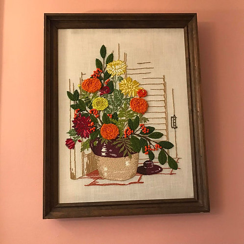 Vintage 70s, Flower Art, Crewel Art, Wild Flower Pot, Country Art, Flower Art