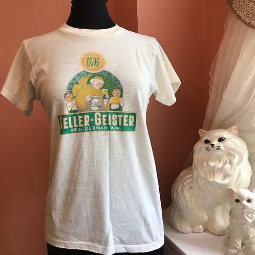 Vintage T-Shirt, 70s Tshirt, Keller-Geister White German Wine, Beer Shirt