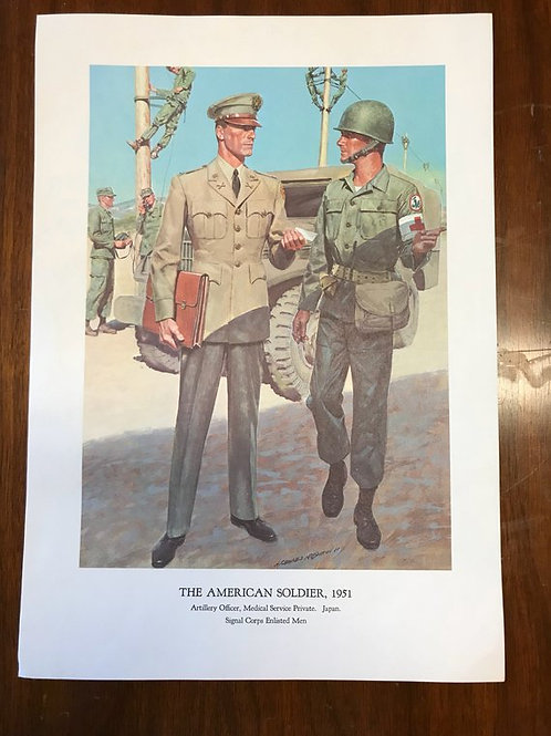 Vintage Print, Military Art, 1966, The American Soldier,1951