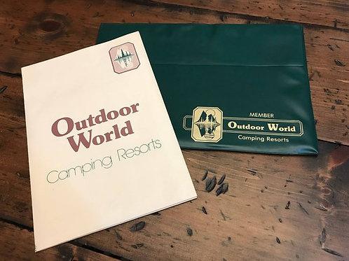Vinyl Folio, Green Folder, 80s Outdoor World Brochure Folder, Camping Resorts